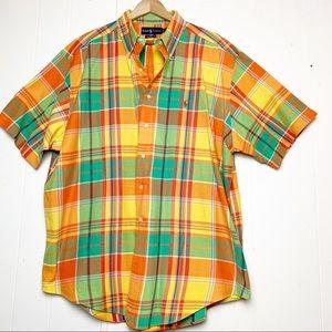 Ralph Lauren Orange Madras Plaid Short Sleeve
